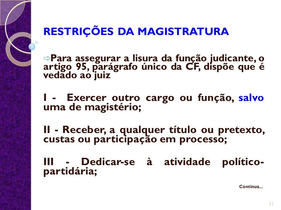 RESTRIÇÕES DA MAGISTRATURA