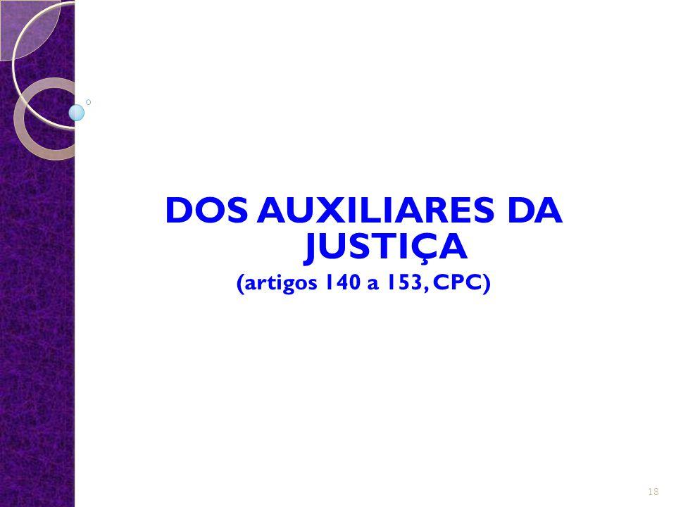 DOS AUXILIARES DA JUSTIÇA (artigos 140 a 153, CPC)