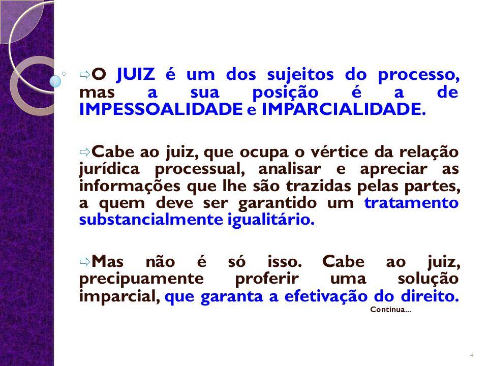 O JUIZ é um dos sujeitos do processo, mas a sua posição é a de IMPESSOALIDADE e IMPARCIALIDADE.
