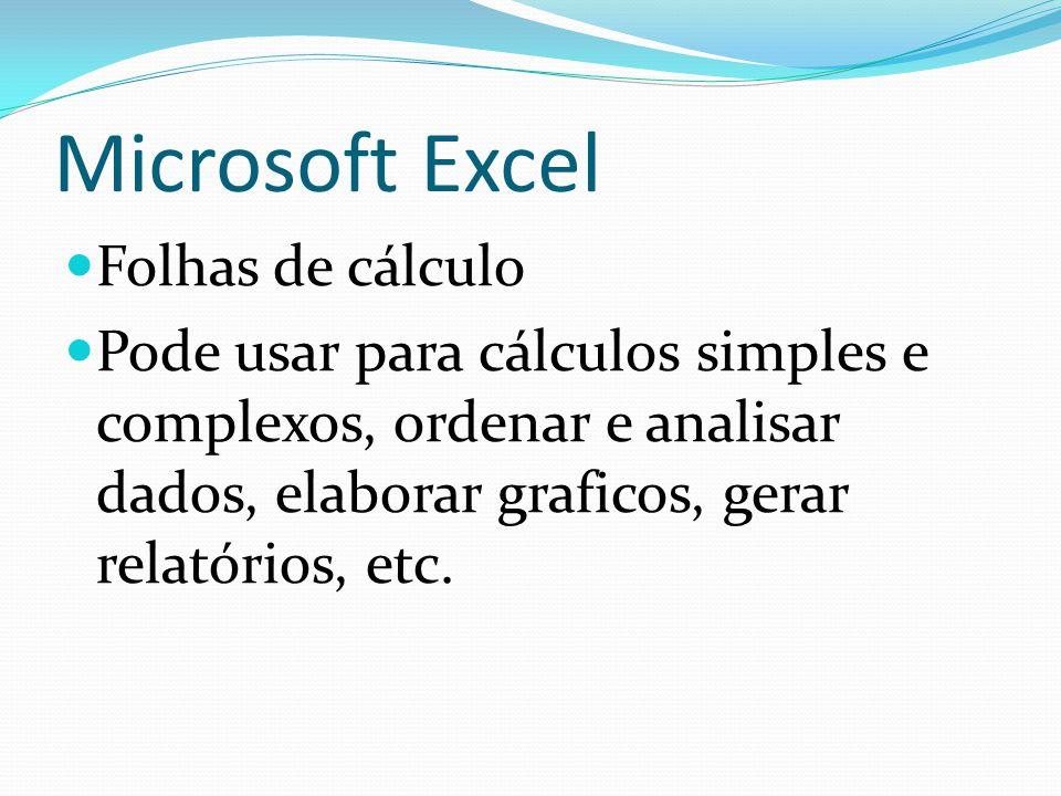 Microsoft Excel Folhas de cálculo