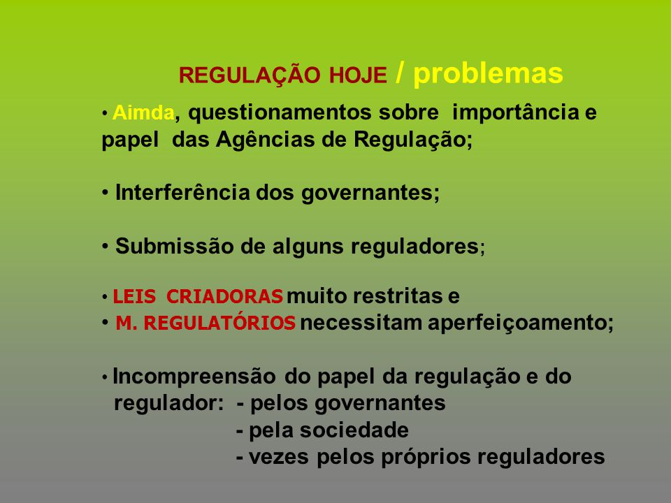 REGULAÇÃO HOJE / problemas
