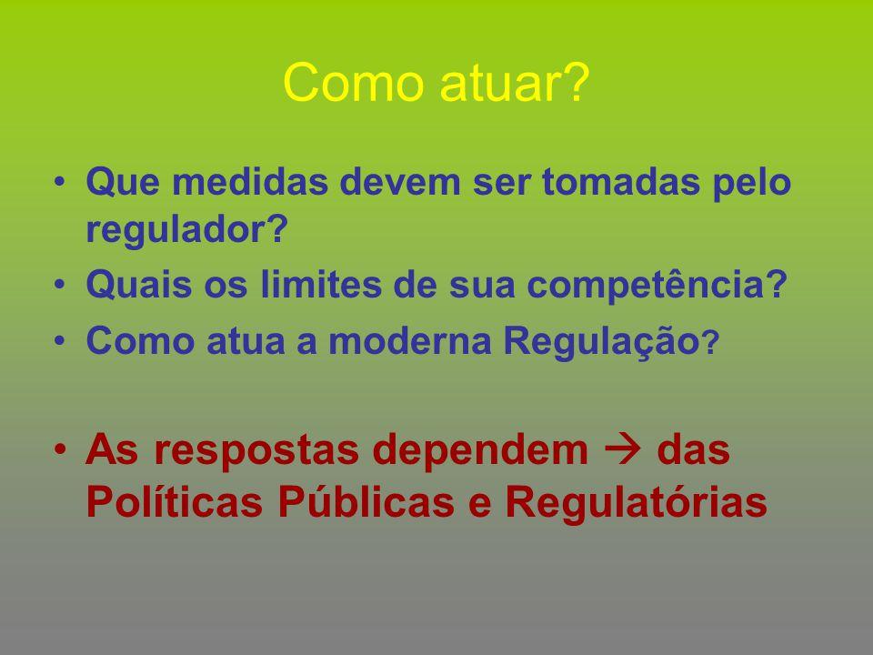 Como atuar Que medidas devem ser tomadas pelo regulador Quais os limites de sua competência Como atua a moderna Regulação
