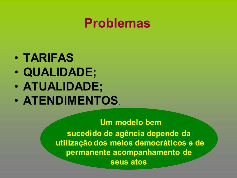 Um modelo bem Problemas TARIFAS QUALIDADE; ATUALIDADE; ATENDIMENTOS.