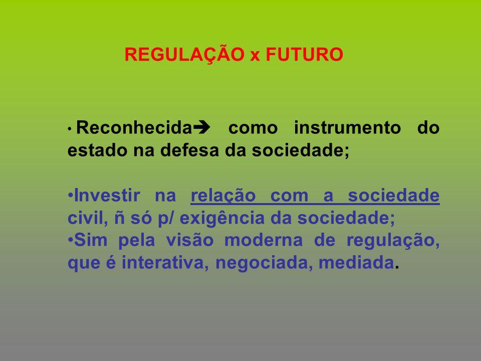 REGULAÇÃO x FUTURO Reconhecida como instrumento do estado na defesa da sociedade;
