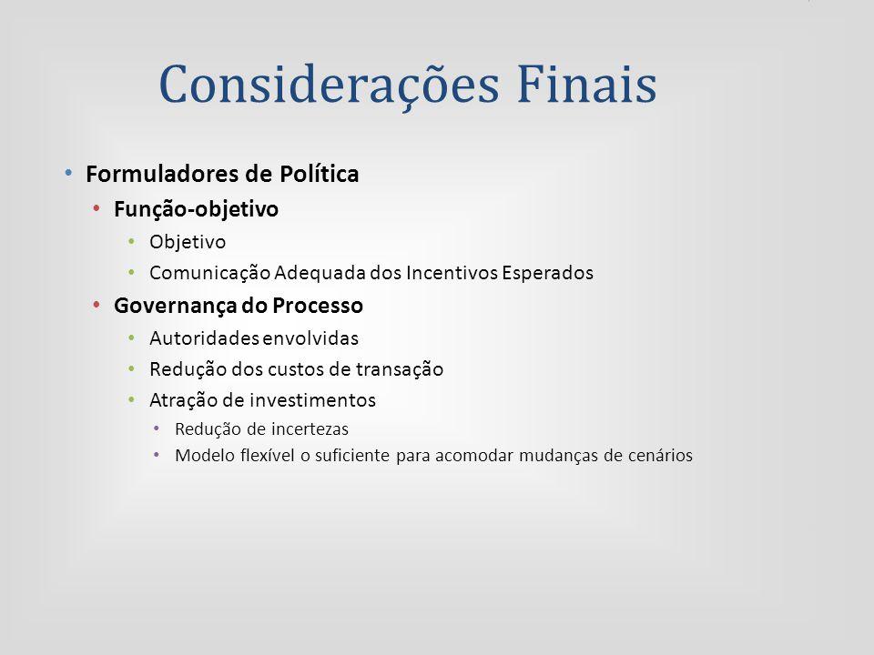 Considerações Finais Formuladores de Política Função-objetivo