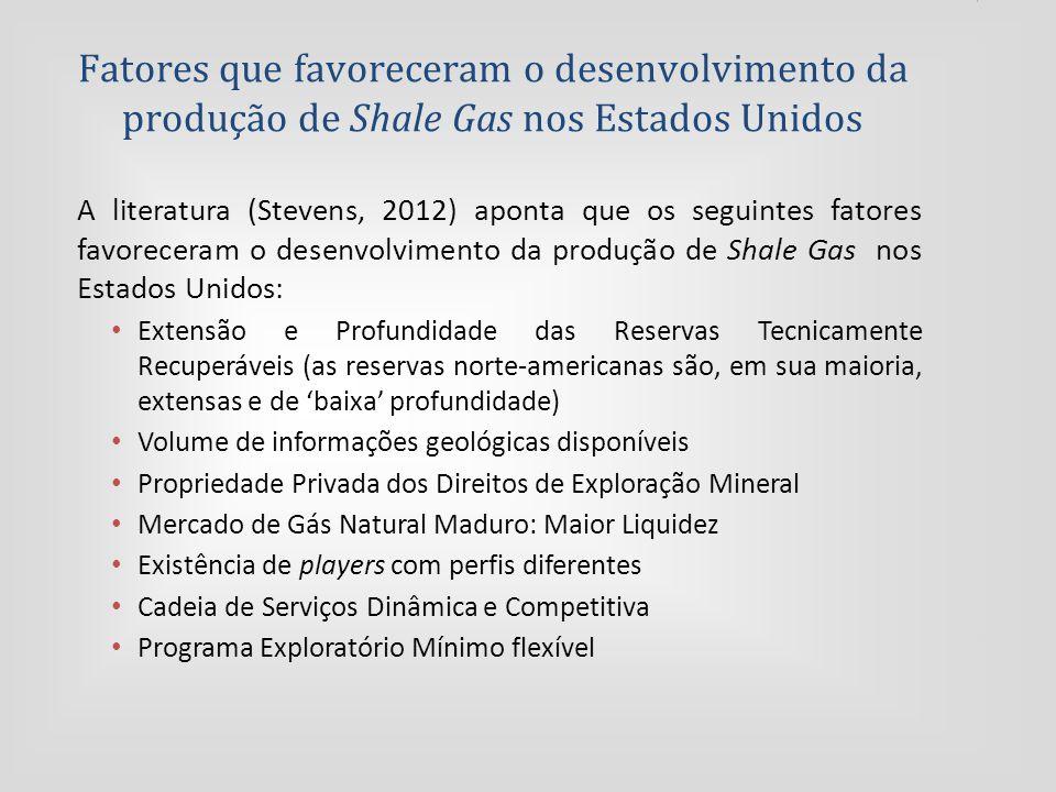 Fatores que favoreceram o desenvolvimento da produção de Shale Gas nos Estados Unidos