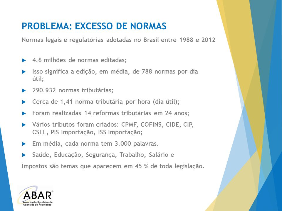 PROBLEMA: EXCESSO DE NORMAS