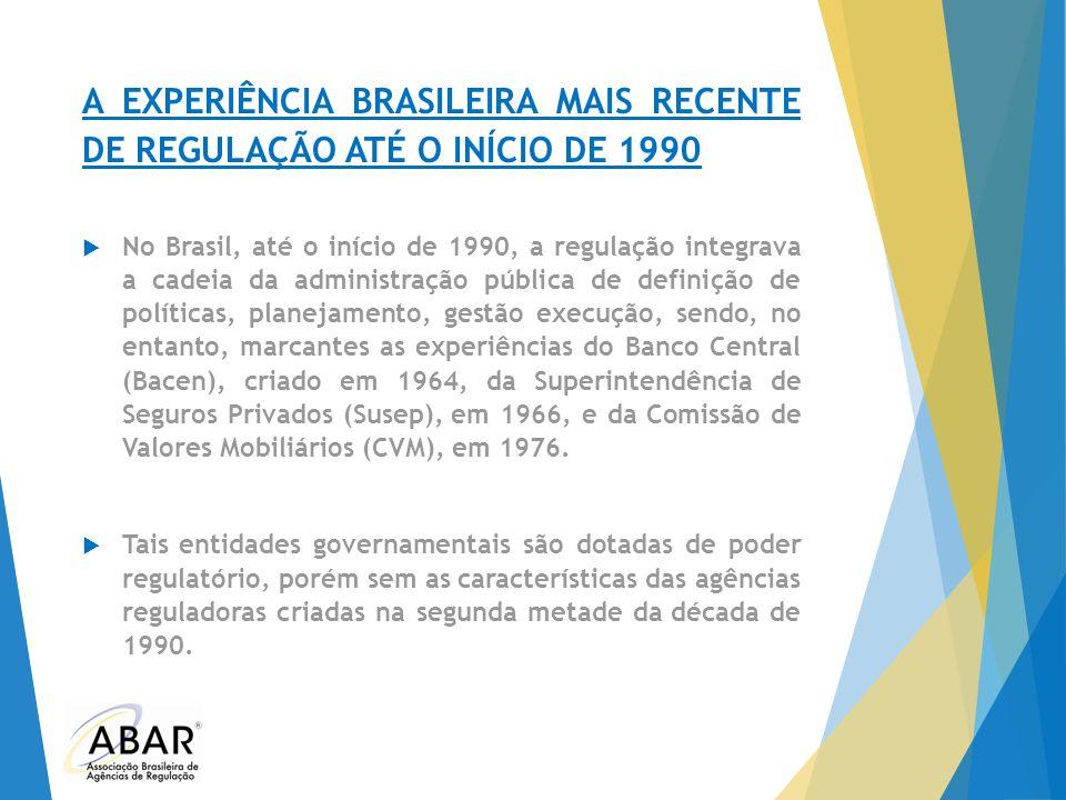 A EXPERIÊNCIA BRASILEIRA MAIS RECENTE DE REGULAÇÃO ATÉ O INÍCIO DE 1990