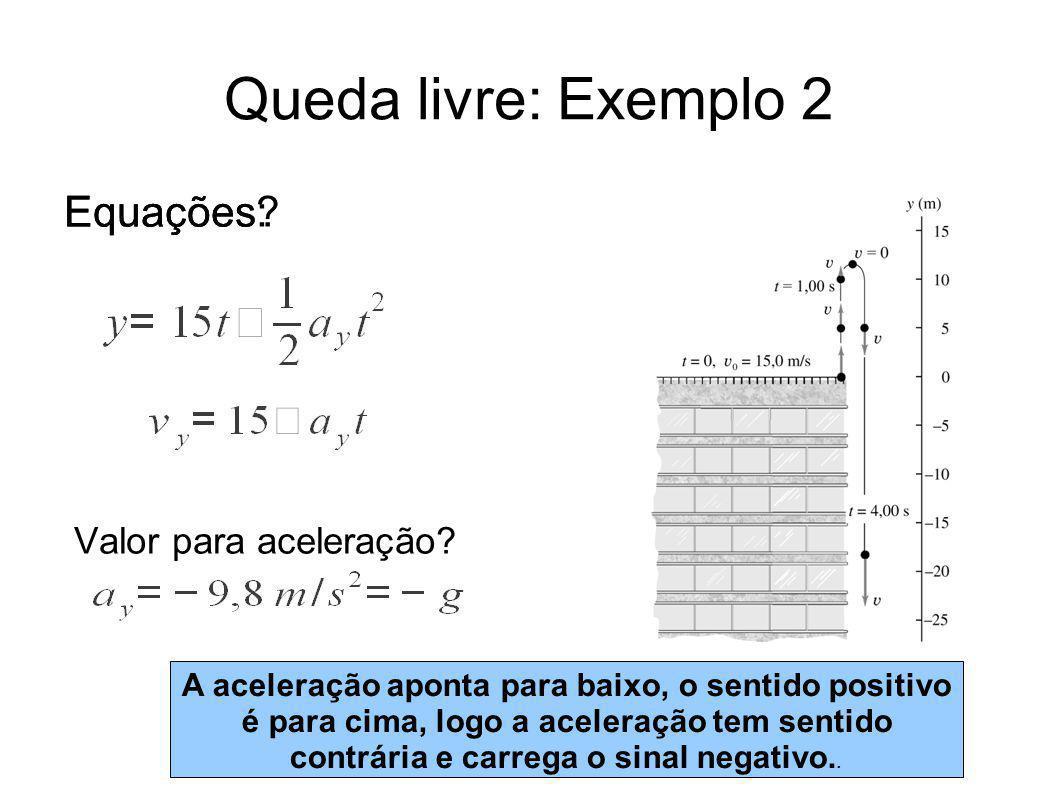 Queda livre: Exemplo 2 Equações: Equações Valor para aceleração