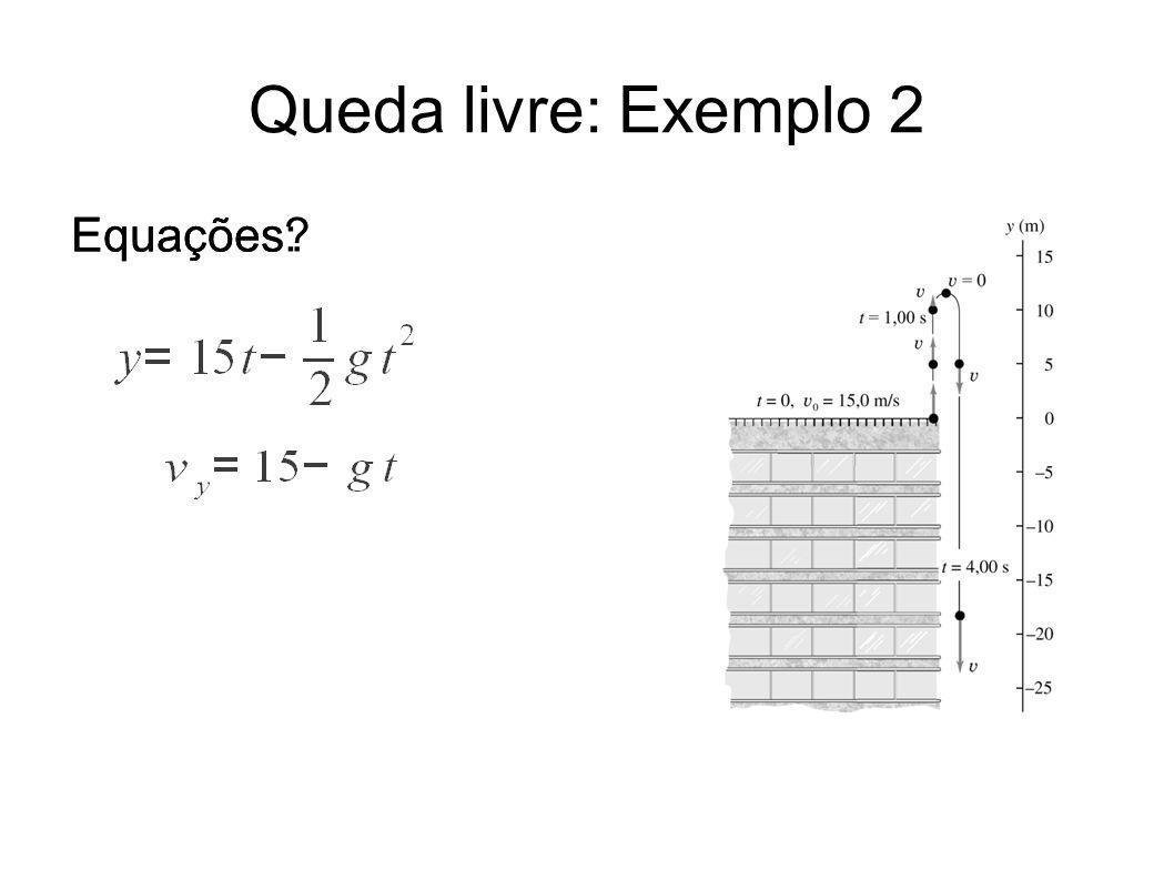Queda livre: Exemplo 2 Equações: Equações