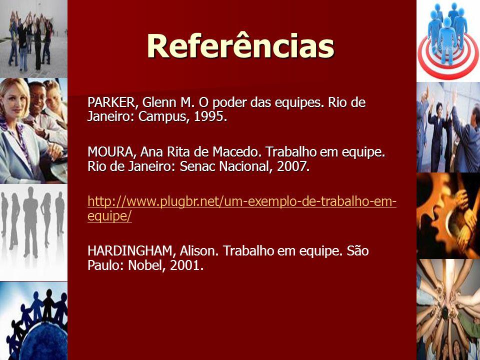 Referências PARKER, Glenn M. O poder das equipes. Rio de Janeiro: Campus, 1995.