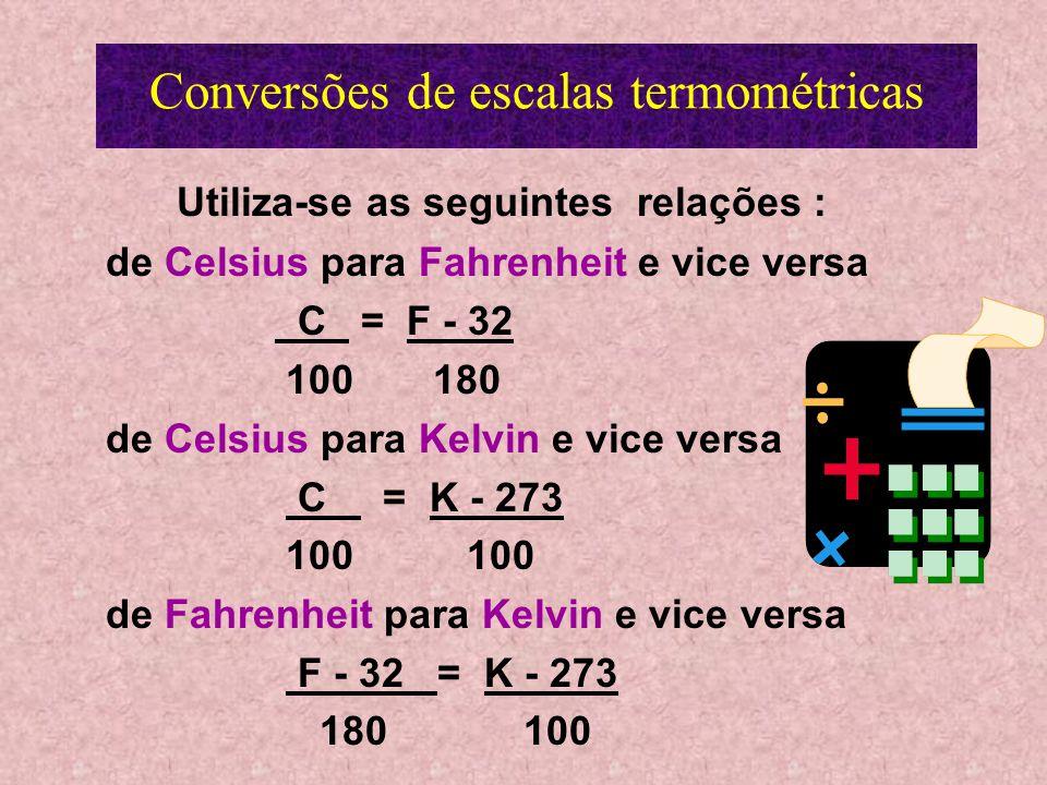Conversões de escalas termométricas