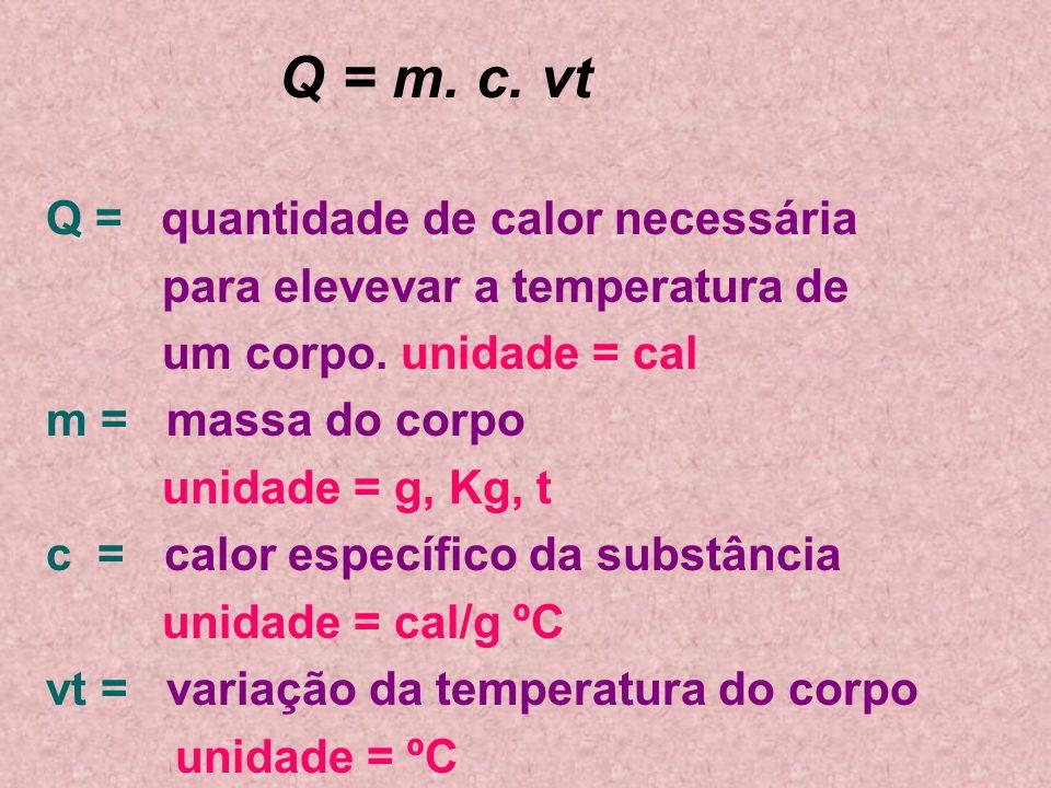 Q = m. c. vt Q = quantidade de calor necessária. para elevevar a temperatura de. um corpo. unidade = cal.