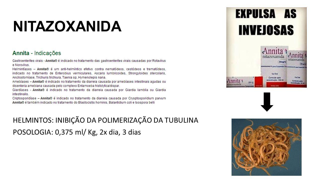 NITAZOXANIDA HELMINTOS: INIBIÇÃO DA POLIMERIZAÇÃO DA TUBULINA POSOLOGIA: 0,375 ml/ Kg, 2x dia, 3 dias