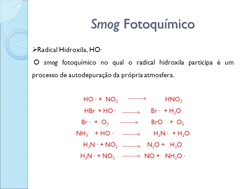 Smog Fotoquímico Radical Hidroxila, HO∙