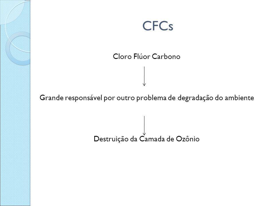 CFCs Cloro Flúor Carbono Grande responsável por outro problema de degradação do ambiente Destruição da Camada de Ozônio