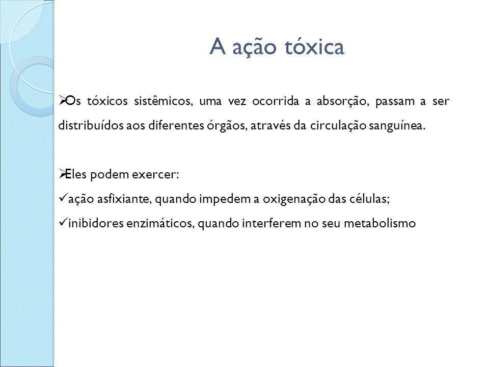 A ação tóxica Os tóxicos sistêmicos, uma vez ocorrida a absorção, passam a ser distribuídos aos diferentes órgãos, através da circulação sanguínea.