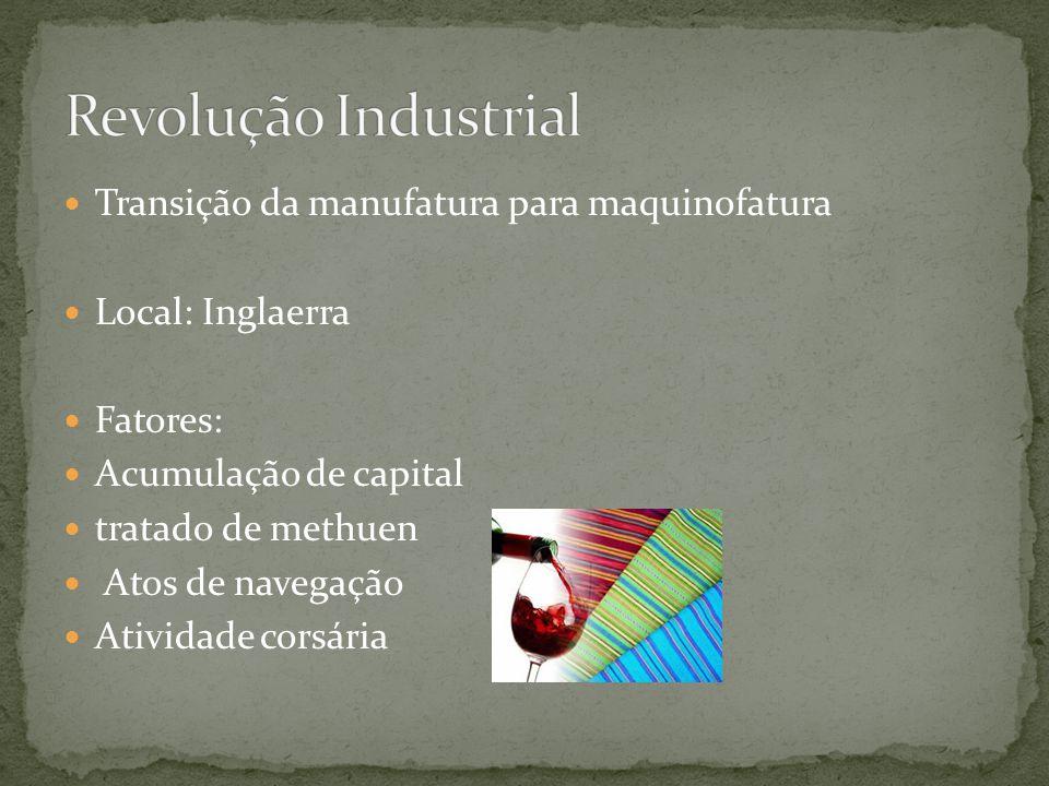 Revolução Industrial Transição da manufatura para maquinofatura