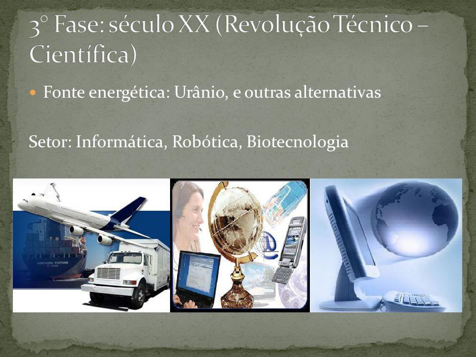 3° Fase: século XX (Revolução Técnico – Científica)