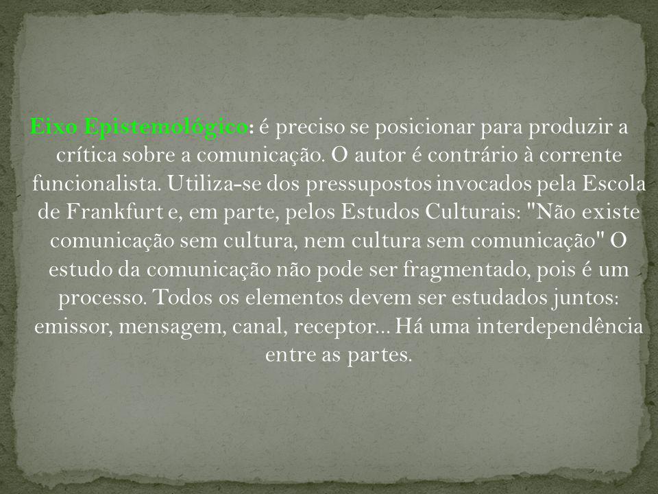 Eixo Epistemológico: é preciso se posicionar para produzir a crítica sobre a comunicação.