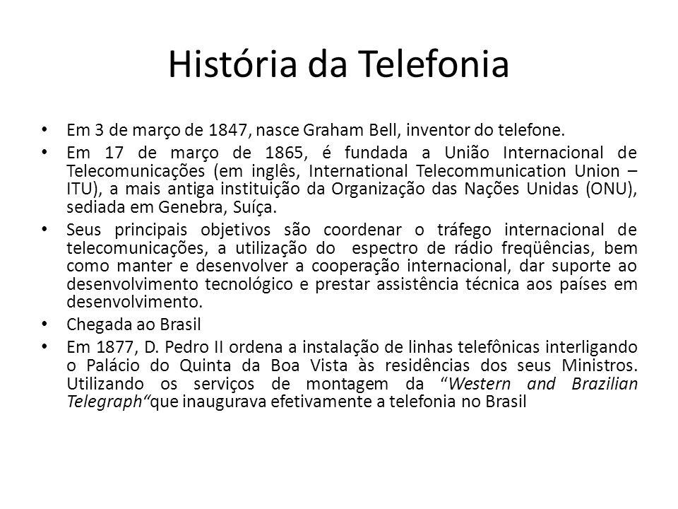 História da Telefonia Em 3 de março de 1847, nasce Graham Bell, inventor do telefone.