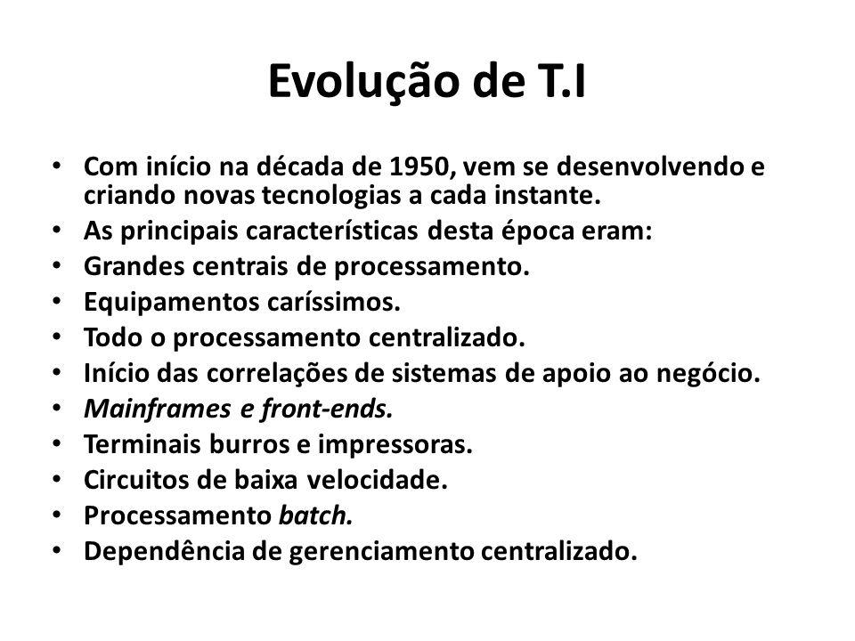 Evolução de T.I Com início na década de 1950, vem se desenvolvendo e criando novas tecnologias a cada instante.