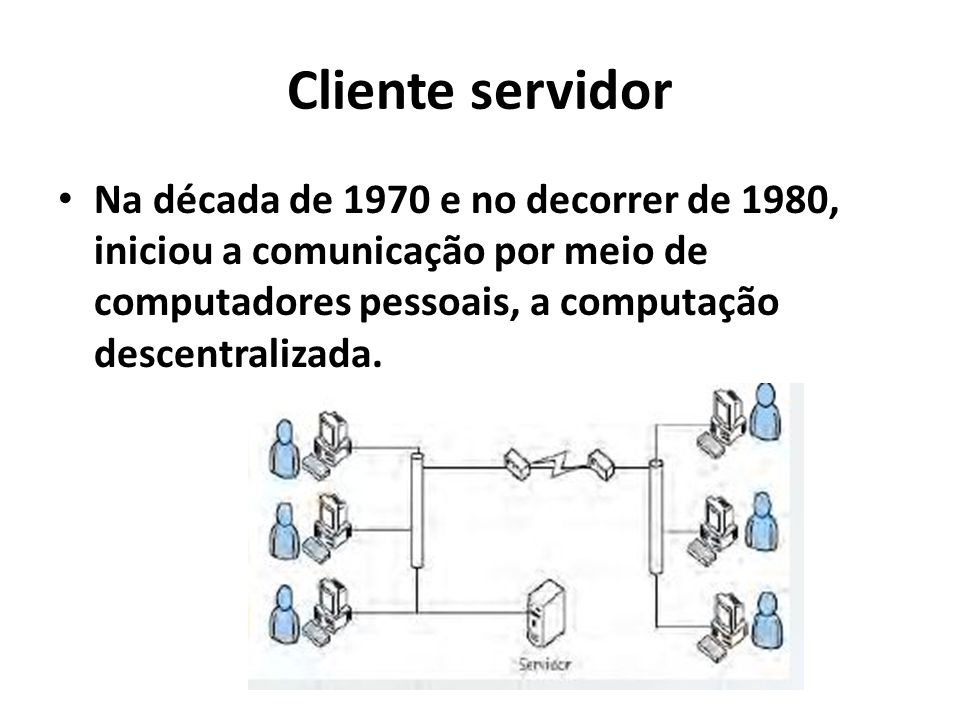 Cliente servidor Na década de 1970 e no decorrer de 1980, iniciou a comunicação por meio de computadores pessoais, a computação descentralizada.