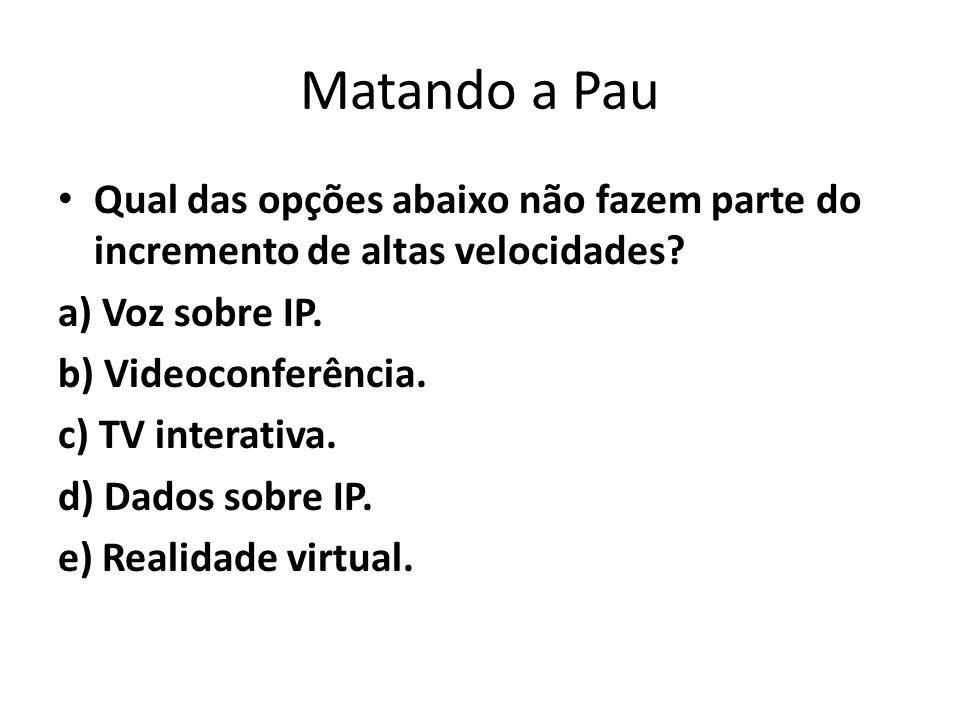 Matando a Pau Qual das opções abaixo não fazem parte do incremento de altas velocidades a) Voz sobre IP.