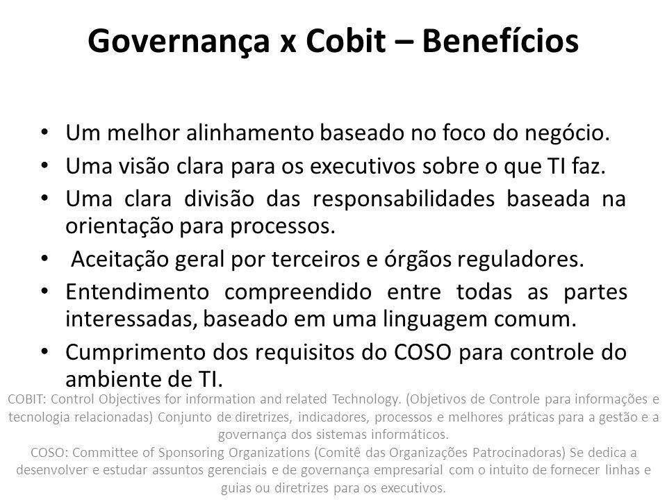 Governança x Cobit – Benefícios
