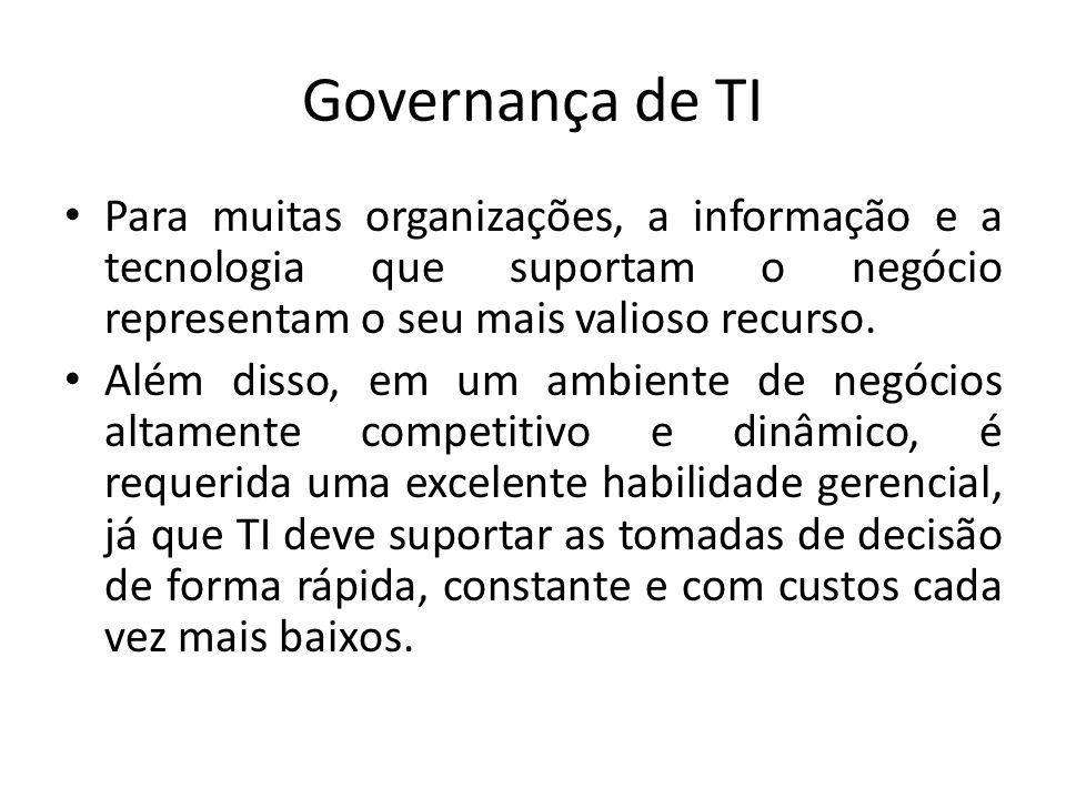 Governança de TI Para muitas organizações, a informação e a tecnologia que suportam o negócio representam o seu mais valioso recurso.
