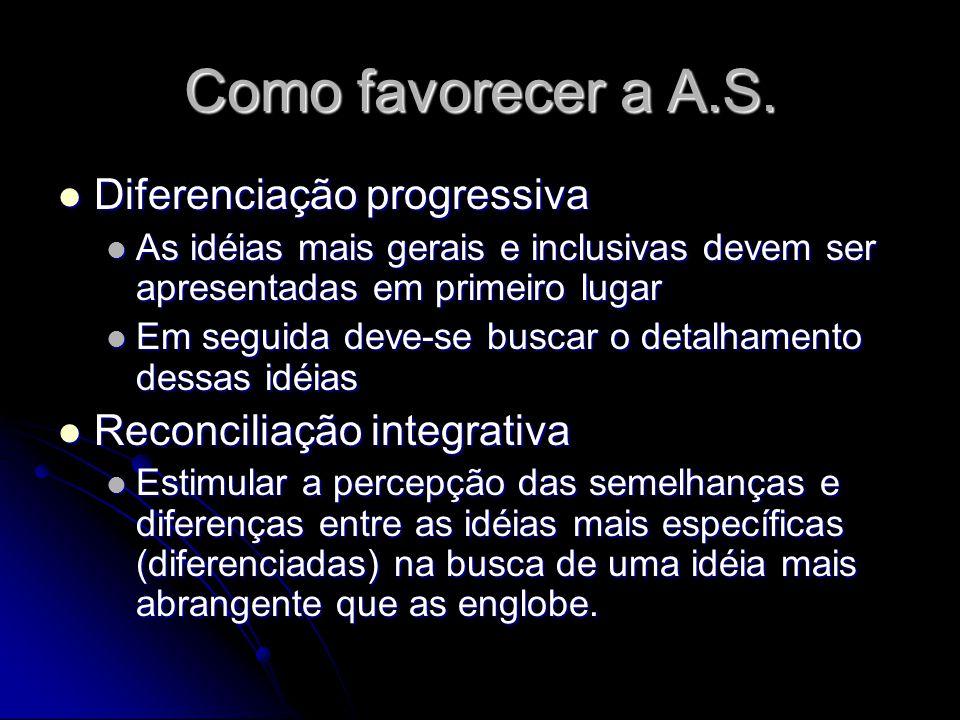 Como favorecer a A.S. Diferenciação progressiva