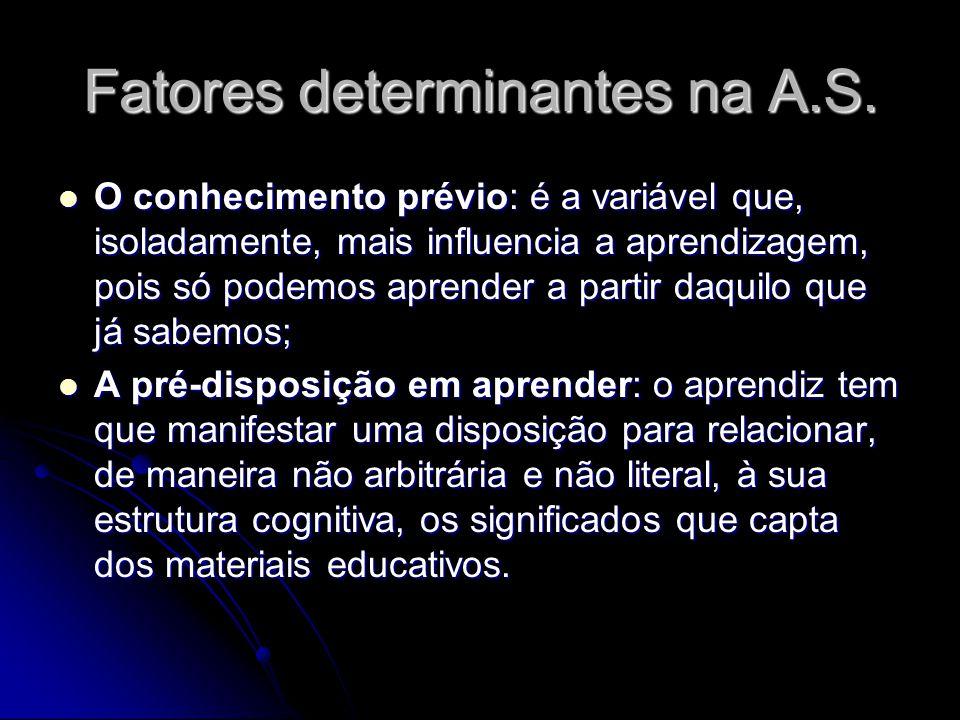 Fatores determinantes na A.S.