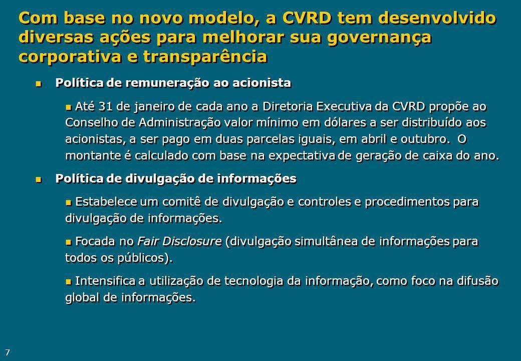 Com base no novo modelo, a CVRD tem desenvolvido diversas ações para melhorar sua governança corporativa e transparência