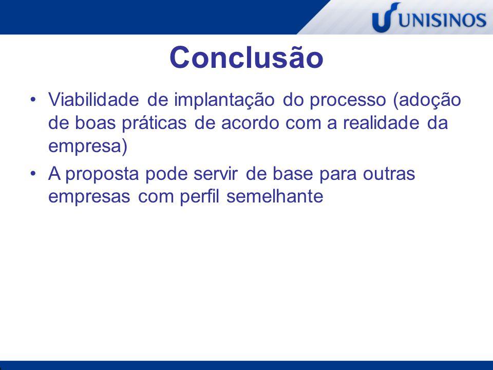 Conclusão Viabilidade de implantação do processo (adoção de boas práticas de acordo com a realidade da empresa)