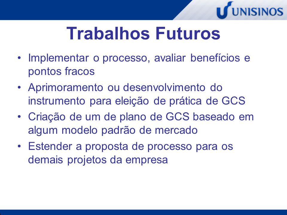 Trabalhos Futuros Implementar o processo, avaliar benefícios e pontos fracos.