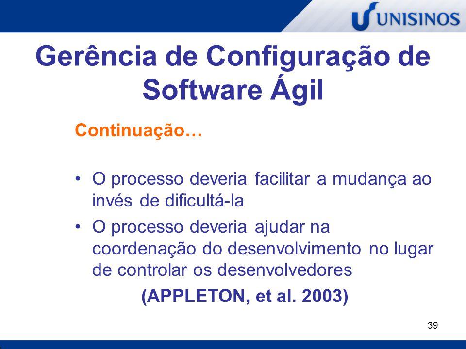 Gerência de Configuração de Software Ágil