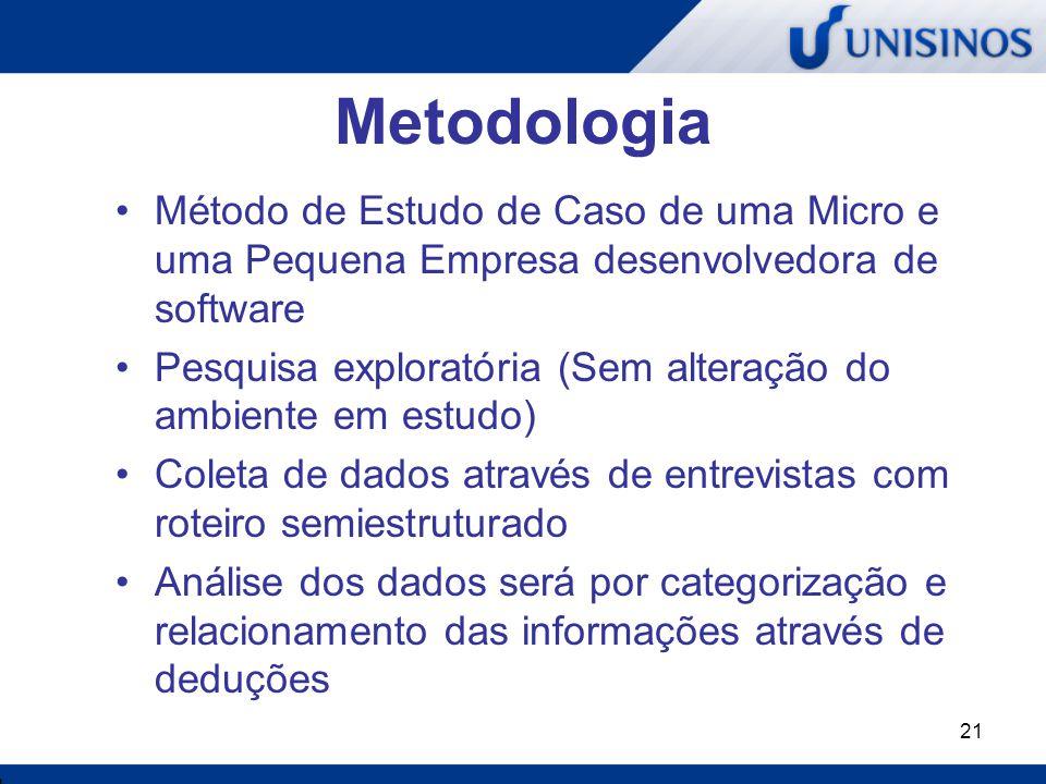 Metodologia Método de Estudo de Caso de uma Micro e uma Pequena Empresa desenvolvedora de software.