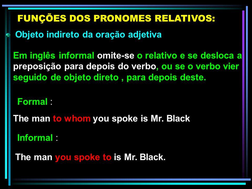 FUNÇÕES DOS PRONOMES RELATIVOS:
