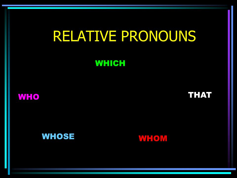 RELATIVE PRONOUNS WHICH THAT WHO WHOSE WHOM