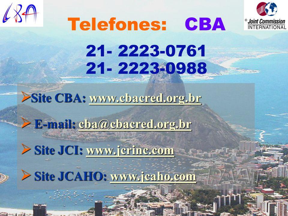 Telefones: CBA 21- 2223-0761. 21- 2223-0988. Site CBA: www.cbacred.org.br. E-mail: cba@cbacred.org.br.