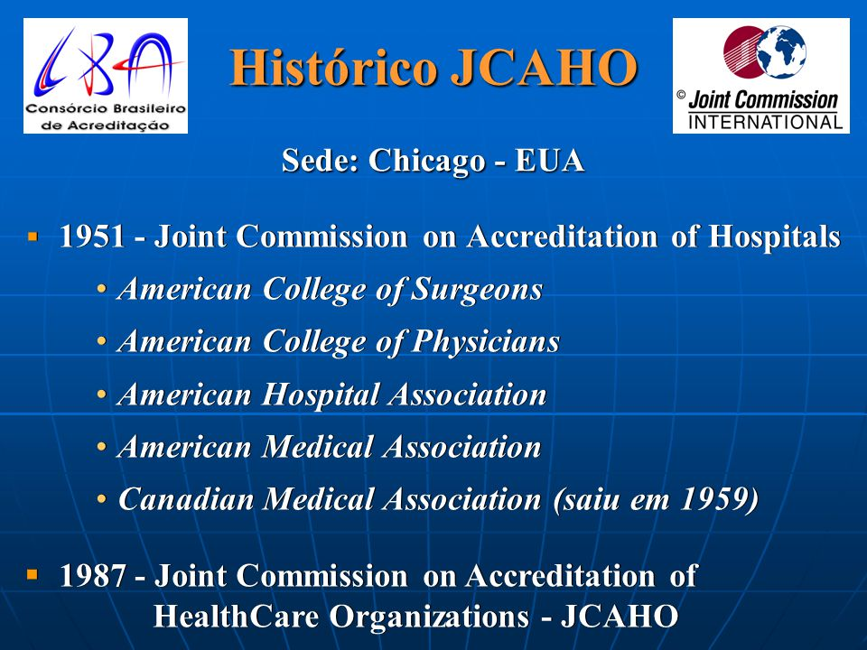 1951 - Joint Commission on Accreditation of Hospitals