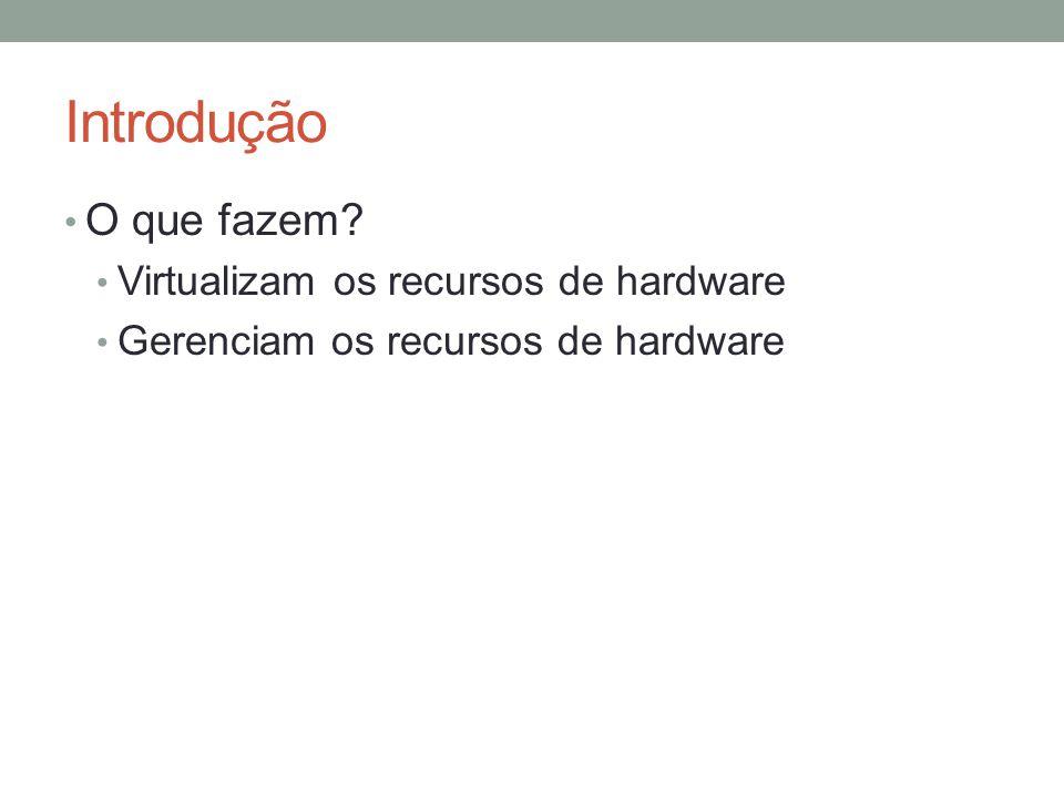 Introdução O que fazem Virtualizam os recursos de hardware
