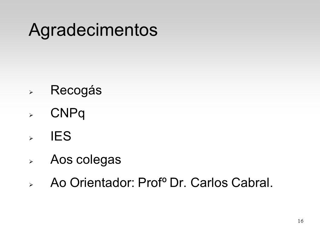 Recogás CNPq IES Aos colegas Ao Orientador: Profº Dr. Carlos Cabral.