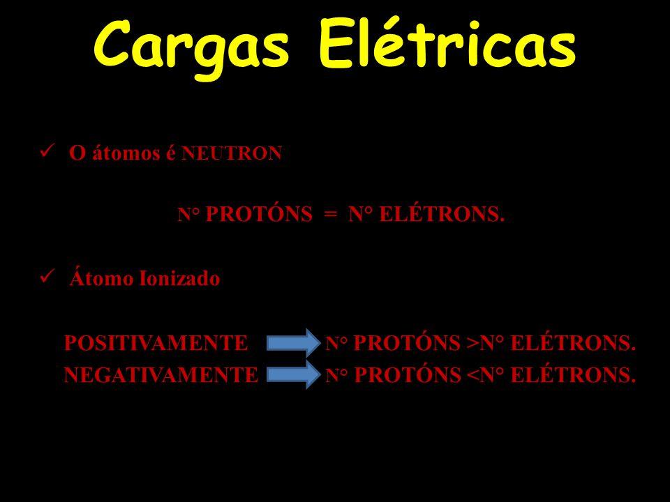 Cargas Elétricas O átomos é NEUTRON Átomo Ionizado