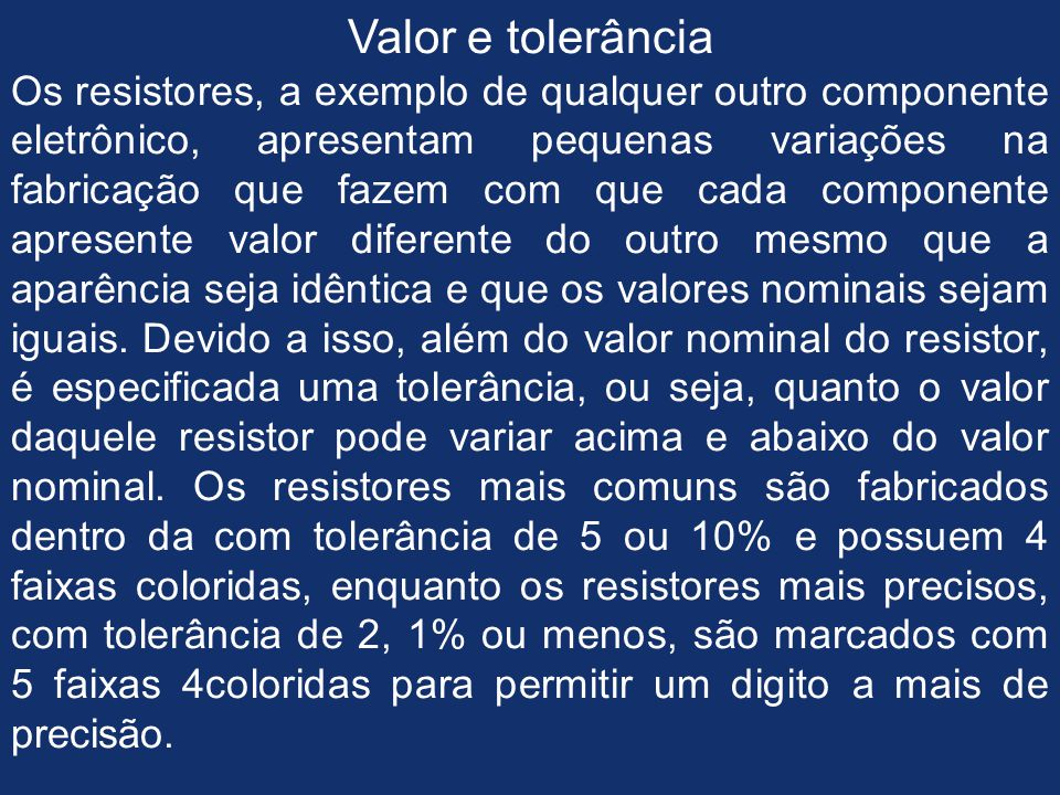 Valor e tolerância
