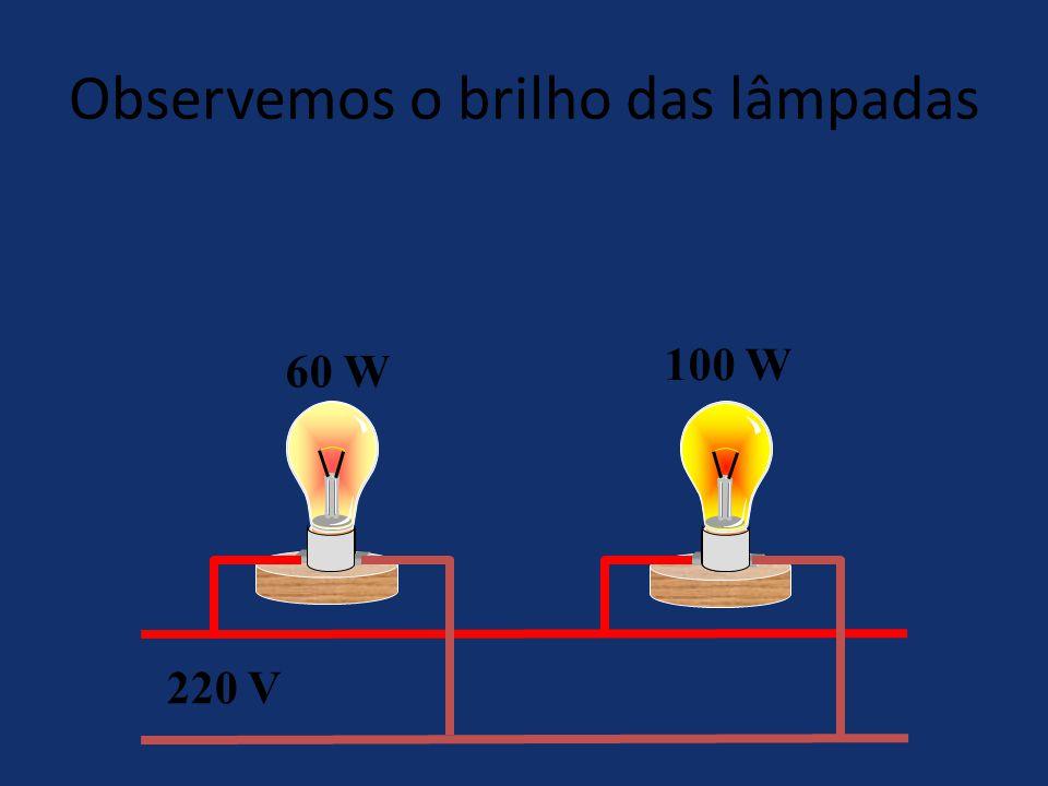Observemos o brilho das lâmpadas
