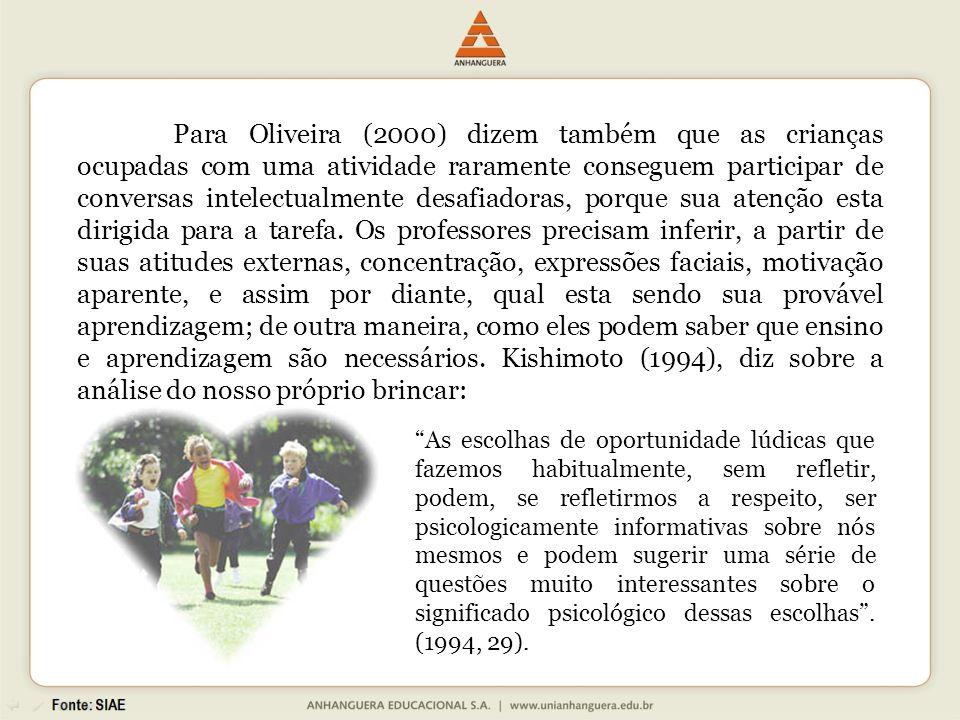 Para Oliveira (2000) dizem também que as crianças ocupadas com uma atividade raramente conseguem participar de conversas intelectualmente desafiadoras, porque sua atenção esta dirigida para a tarefa. Os professores precisam inferir, a partir de suas atitudes externas, concentração, expressões faciais, motivação aparente, e assim por diante, qual esta sendo sua provável aprendizagem; de outra maneira, como eles podem saber que ensino e aprendizagem são necessários. Kishimoto (1994), diz sobre a análise do nosso próprio brincar: