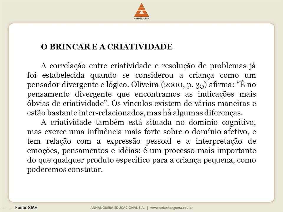 O BRINCAR E A CRIATIVIDADE