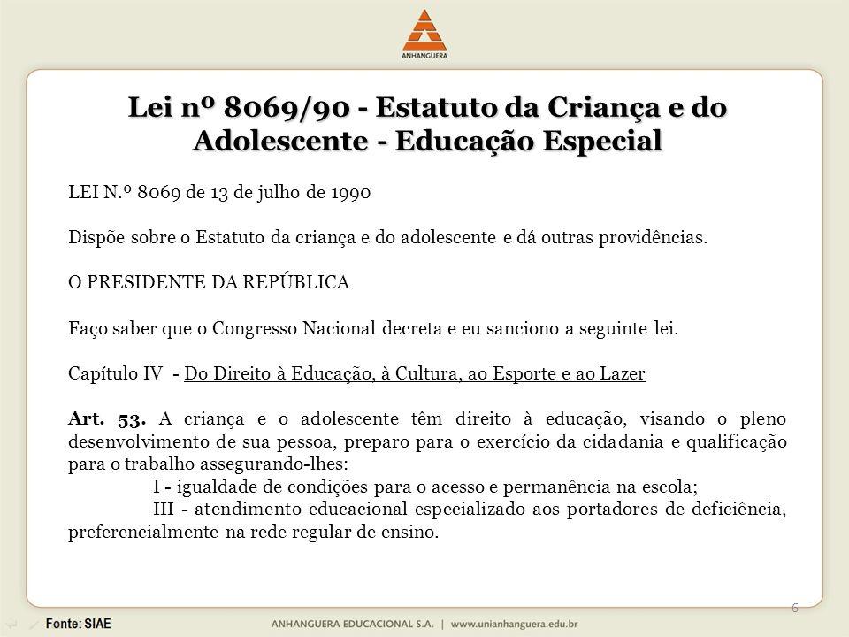 Lei nº 8069/90 - Estatuto da Criança e do Adolescente - Educação Especial