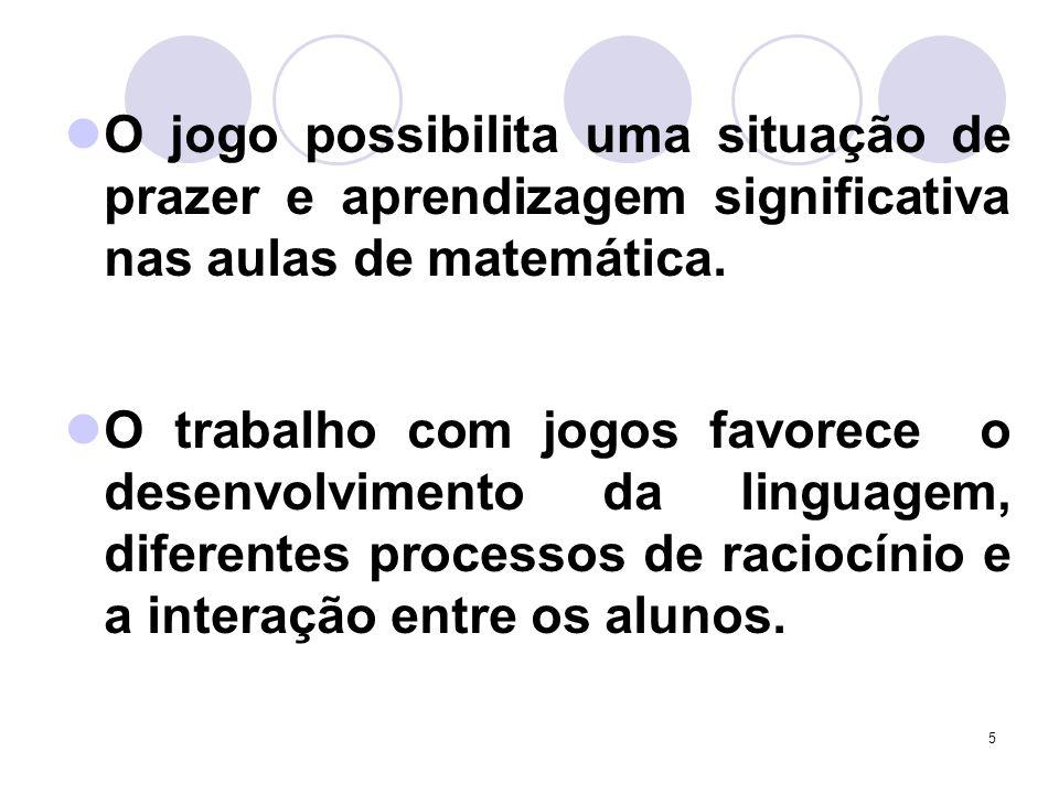 O jogo possibilita uma situação de prazer e aprendizagem significativa nas aulas de matemática.